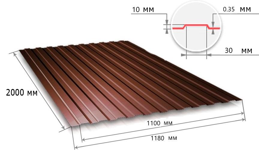 Профнастил С10 шоколадно-коричневый RAL8017 (2000х1180х0,35) фото, Профнастил С10 шоколадно-коричневый RAL8017 (2000х1180х0,35) картинка, Профнастил С10 шоколадно-коричневый RAL8017 (2000х1180х0,35) в Москве фото
